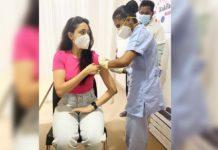 Akhanda lady Pragya Jaiswal takes first shot of Covid Vaccine