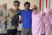 Three generations: Ravi Teja with his father and son