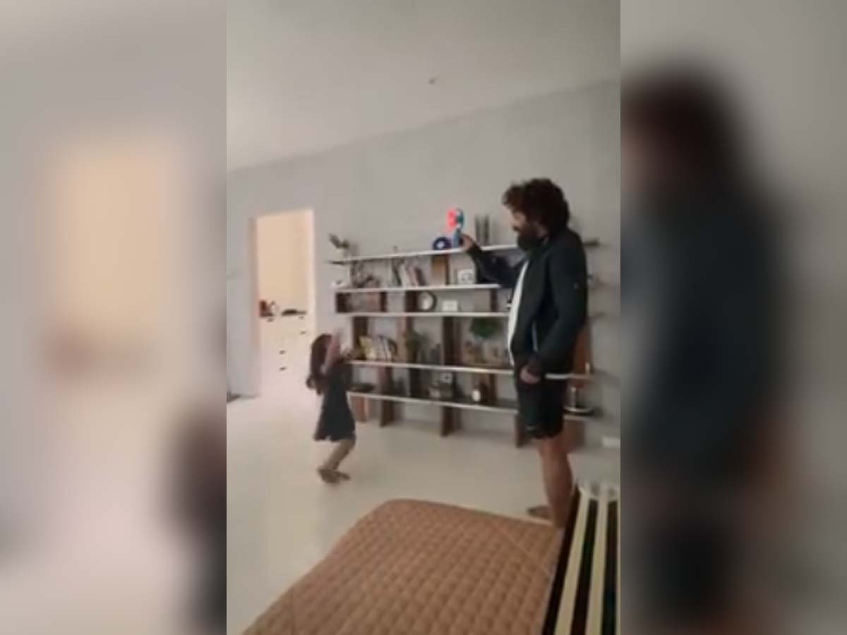 Allu Arjun and Arha playing with water bubbles