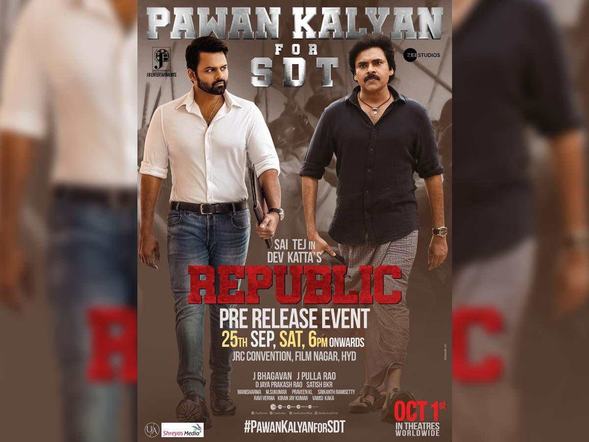 Official: Pawan Kalyan – Chief Guest for Republic Pre-Release event