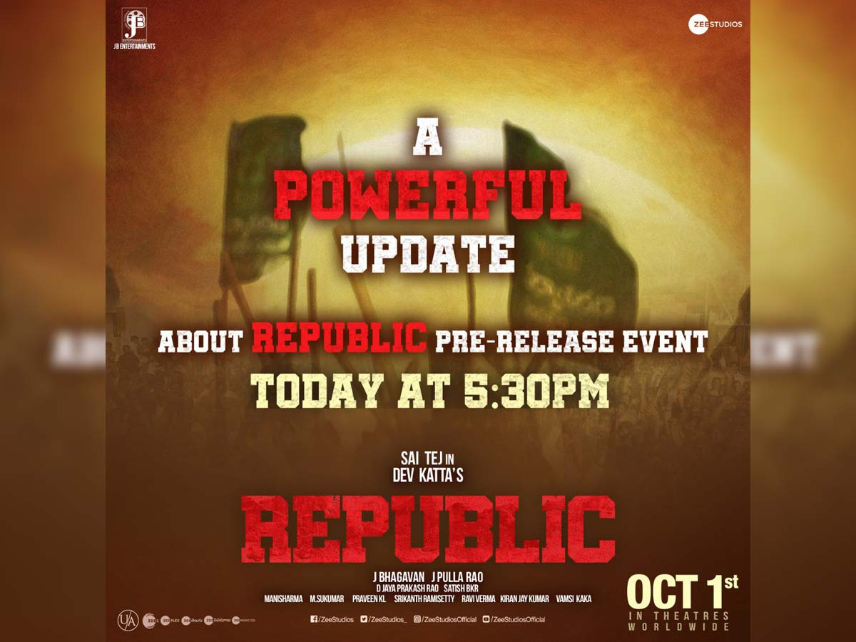 Powerful Update about Republic Pre release event today evening